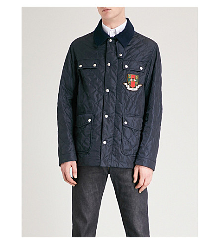 GUCCI Badge-embroidered quilted jacket (Navy