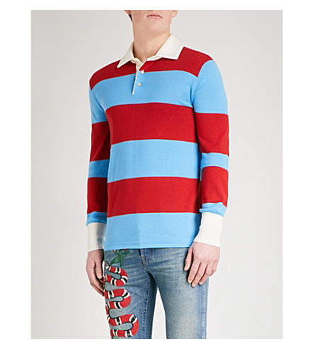 GUCCI Thanatos wool-knitted polo shirt (Blue+red