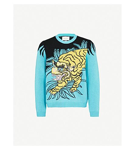 GUCCI Tiger-intarsia wool jumper (Yellow