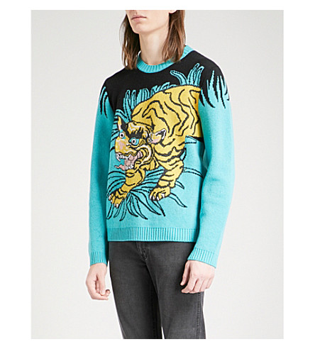 GUCCI Tiger-intarsia wool jumper (Yellow