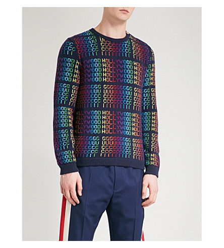 GUCCI Hollywood knitted wool jumper (Blue+multi