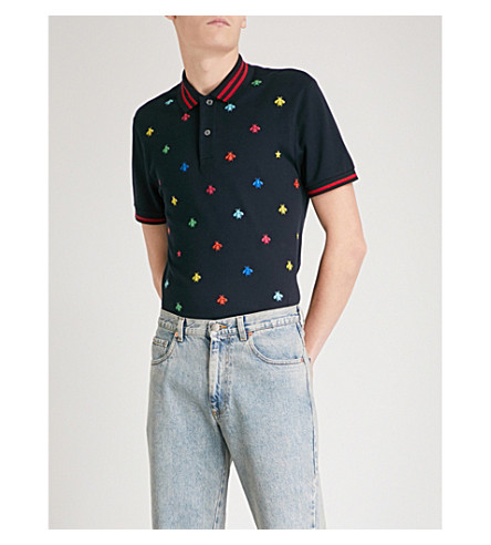 GUCCI Bee-embroidered slim-fit stretch-cotton polo shirt (Navy+multi