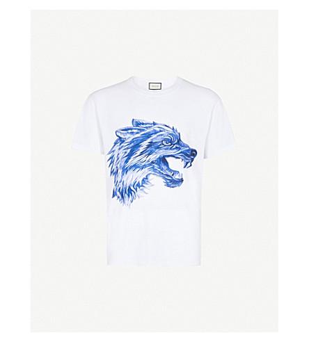 GUCCI Wolf drawing-print cotton-jersey T-shirt (White+blue