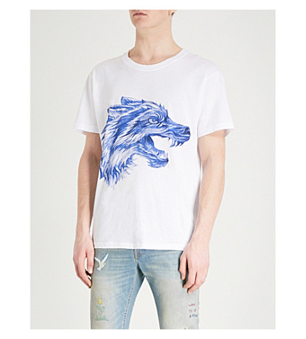 GUCCI Wolf drawing-print cotton-jersey T-shirt (White+blue