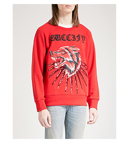 GUCCI Sequinned cotton-jersey sweatshirt (Red