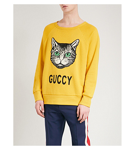 GUCCI Cat-embroidered cotton-jersey sweatshirt (Yel