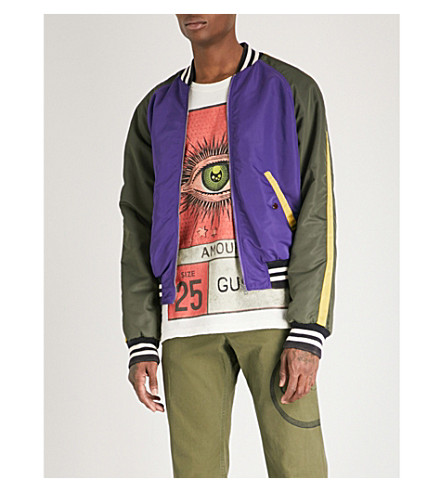 GUCCI Embellished satin bomber jacket (Purple