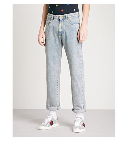 GUCCI Logo-print regular-fit straight jeans (Blue