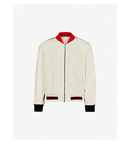 GUCCI Perforated logo-print leather bomber jacket (Off+white