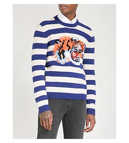 GUCCI Tiger-intarsia striped wool jumper (Blue/wht