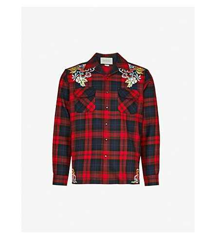GUCCI Dragon-embroidered checked regular-fit wool-flannel shirt (Red