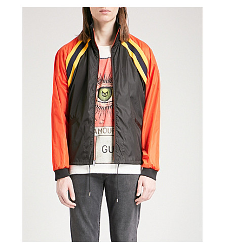 GUCCI Logo-print shell jacket (Blk/orange
