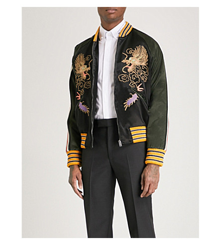 GUCCI Dragon-embroidered satin bomber jacket (Black