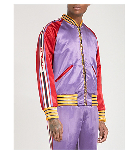 GUCCI Tiger-embellished quilted satin bomber jacket (Purple+red