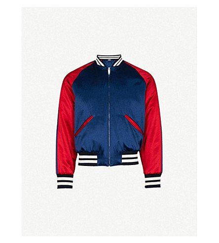 GUCCI Reversible satin bomber jacket (Navy+red