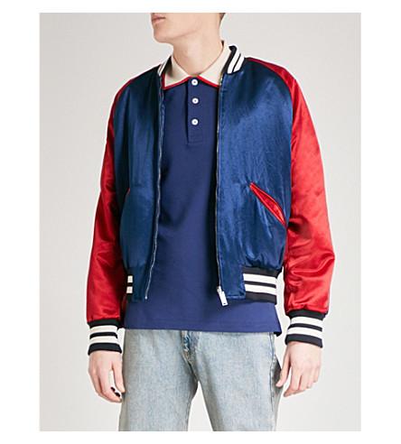 GUCCI Reversible satin bomber jacket (Navy+red