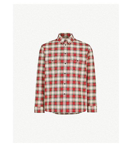 GUCCI Embroidered tartan cotton-flannel shirt (Red