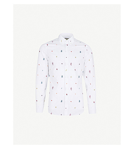 GUCCI Symbol motif slim-fit cotton shirt (White+multi