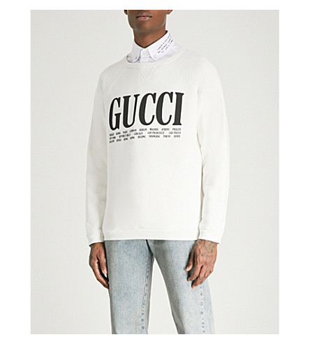 GUCCI Cities cotton-jersey sweatshirt (Cream