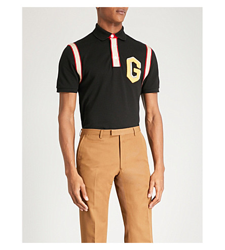 GUCCI Varsity-style stretch-cotton polo shirt (Black