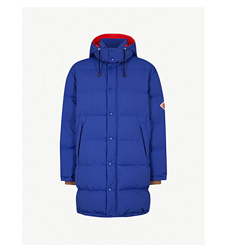 GUCCI Logo-patch hooded shell-down jacket (Royal+blue