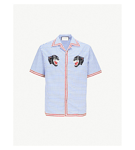 GUCCI Panther-embroidered relaxed-fit cotton bowling shirt (Blue