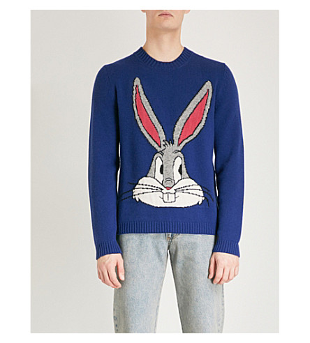 GUCCI Bugs Bunny knitted wool jumper (Blue