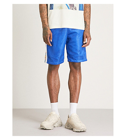GUCCI Side tape mesh shorts (Blue