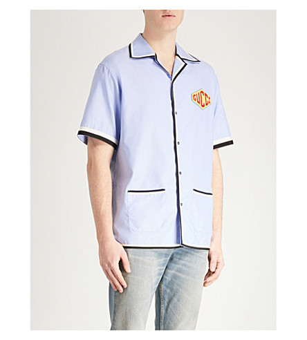 GUCCI Logo-embroidered regular-fit cotton shirt (Blue