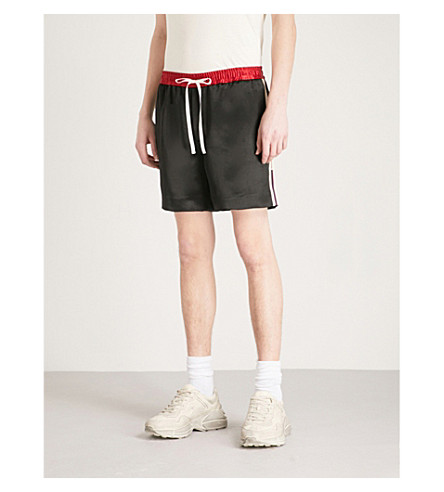 GUCCI Side-stripe satin shorts (Red+navy
