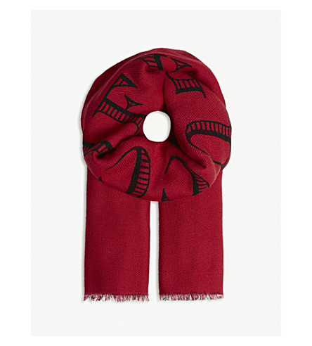 GUCCI Magnetismo jacquard wool scarf (Black+ivory