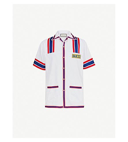 GUCCI Striped oxford-cotton bowling shirt (White