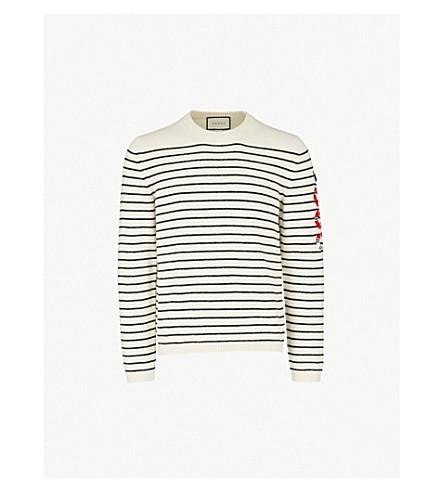 GUCCI Snake-motif striped wool jumper (White blue