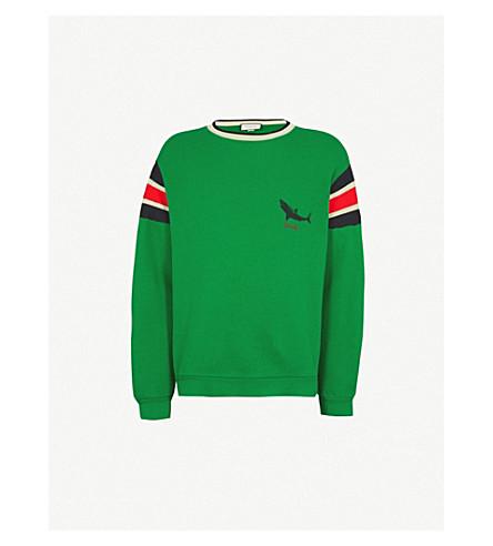 GUCCI Shark-print cotton-jersey sweatshirt (Green