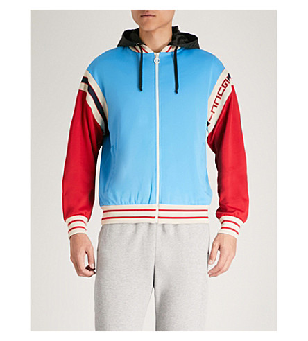 GUCCI Contrast-panel cotton-blend bomber jacket (Blue