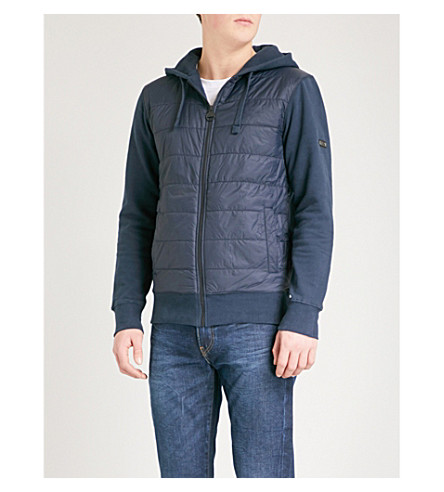 BARBOUR Baffle cotton-jersey and shell hoody (Navy
