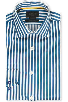 DUCHAMP Ribbon-striped tailored-fit single-cuff shirt