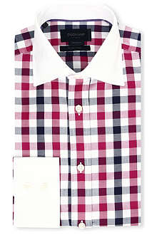 DUCHAMP Contrast collar tailored-fit single-cuff checked shirt