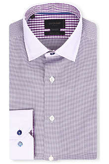 DUCHAMP Houndstooth tailored-fit single-cuff shirt
