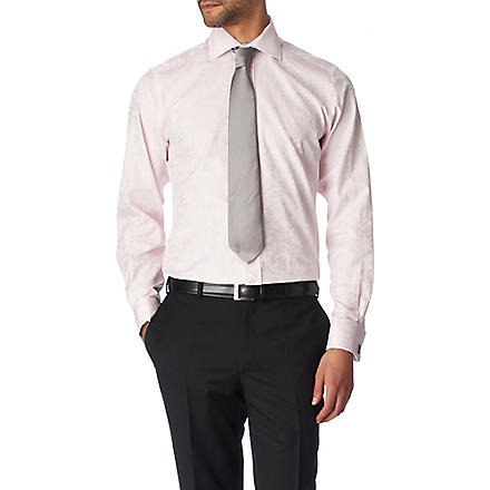 DUCHAMP Floral Jacquard tailored fit double cuff shirt (Pink