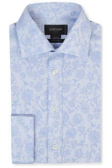 DUCHAMP Floral jacquard tailored-fit double-cuff shirt