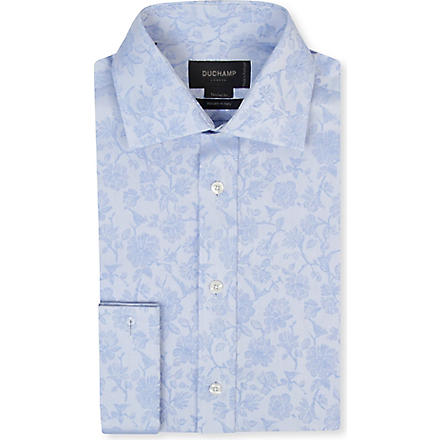 DUCHAMP Floral jacquard tailored-fit double-cuff shirt (Sky
