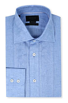 DUCHAMP Pleated-front tailored-fit single-cuff shirt