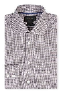 DUCHAMP Zigzag-herringbone tailored-fit single-cuff shirt