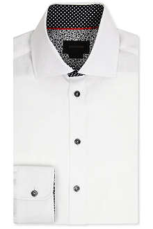DUCHAMP Herringbone-detail tailored-fit single-cuff shirt
