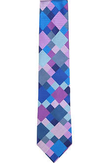 DUCHAMP Check square silk tie