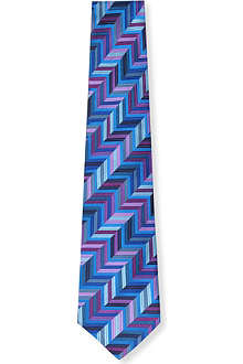 DUCHAMP Geometric herringbone stripe silk tie