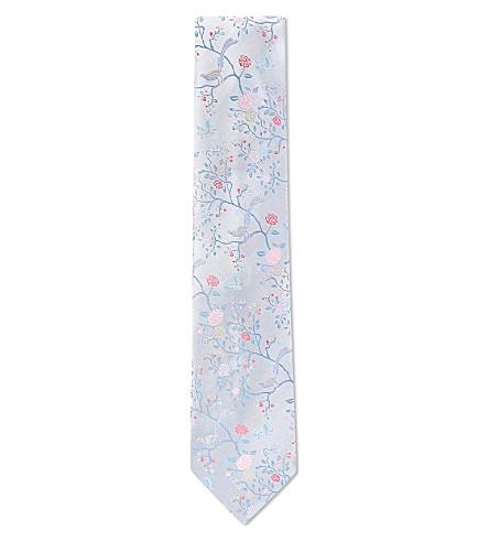 DUCHAMP Garden bird silk tie (Silver
