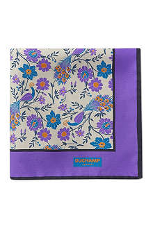 DUCHAMP Peacock floral pocket square