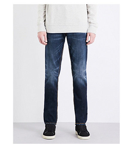TRUE RELIGION Rocco relaxed-fit skinny jeans (Light+grey+gold